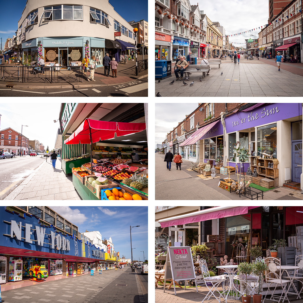 Local shop fronts in the borough of Southend-on-Sea