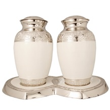 Photo of Silver and White Honesty Brass Urn Companion Set