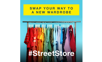 Multi colours clothing on clothing rack. Text reads: Swap your way to a new wardrobe #StreetStore