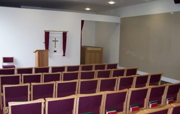 A photograph of the inside of South Chapel at Sutton Road Crematorium