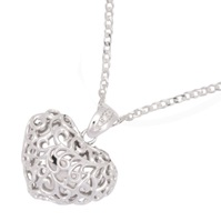 Photo of Sterling Silver Scrolled Cherished Heart Pendant for Ashes