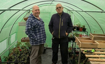 Volunteer Terry Owens and Tony Wagstaff in Poly Tunnel