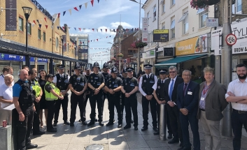 Cllr Terry with the new Town Centre Police Officers