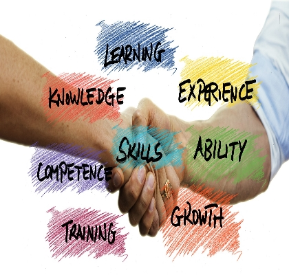 2 hands in a handshake surrounded by words describing training