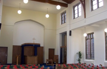 A photograph of the inside of West Chapel at Sutton Road Crematorium