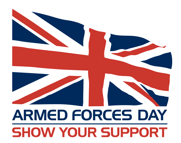 A Union Jack flag flying above the words Armed Forces Day, Show Your Support