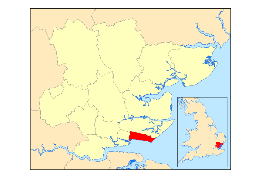 Map showing Southend on Sea in relation to Essex
