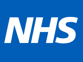 NHS on blue background
