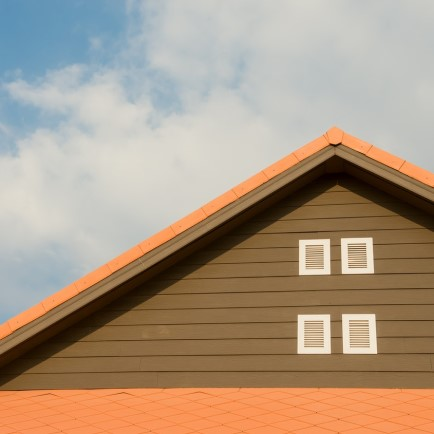 Orange slated roof pitch, with 4 small windows.