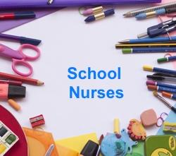 the word 'school nurses' surrounded by pieces of school stationery